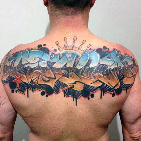 Street Art Wildstyle Graffiti Mens Back Tattoo
