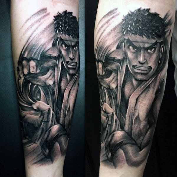 Street Fighter Shaded Black And Grey Ink Mens Forearm Tattoos