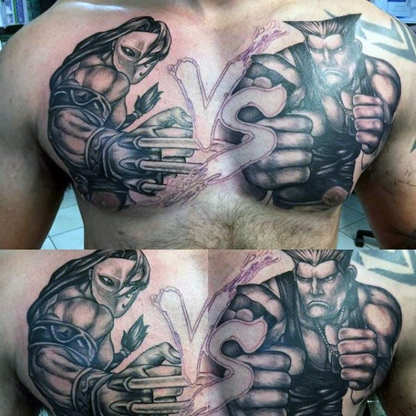 Street Fighter Vs Mens Upper Chest Tattoos