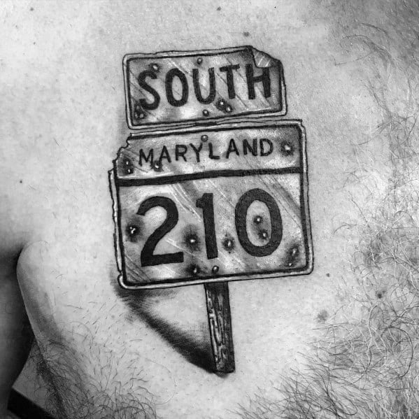 Street Sign Tattoo Design Ideas For Men On Chest