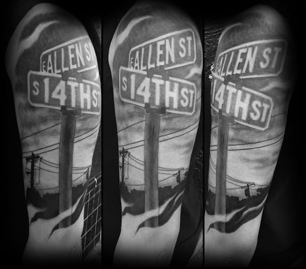 Street Sign Tattoo Designs For Men Half Sleeve 3d