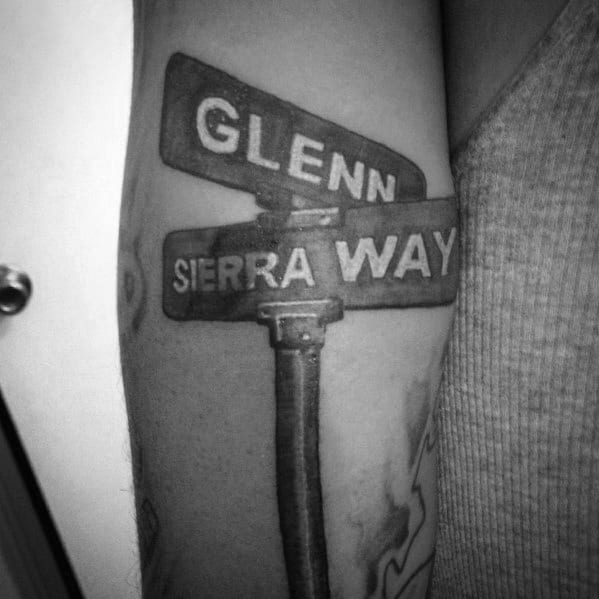 Street Sign Themed Tattoo Ideas For Men