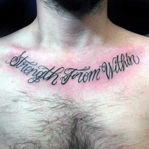 Strength From Within Mens Collar Bone Tattoos