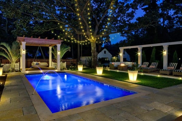 String Globe Lights Design Ideas For Small Pool Lighting