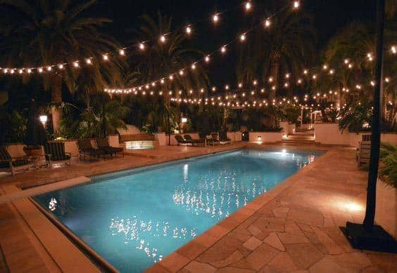String Globe Lights Home Pool Lighting Ideas