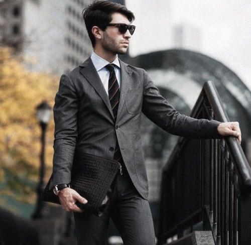 Striped Black Tie Fashion Mens Grey Suits