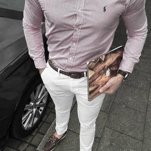 Striped Red Dress Shirt Brown Belt And Boat Shoes What To Wear With Male White Jeans Outfits Clothing Styles