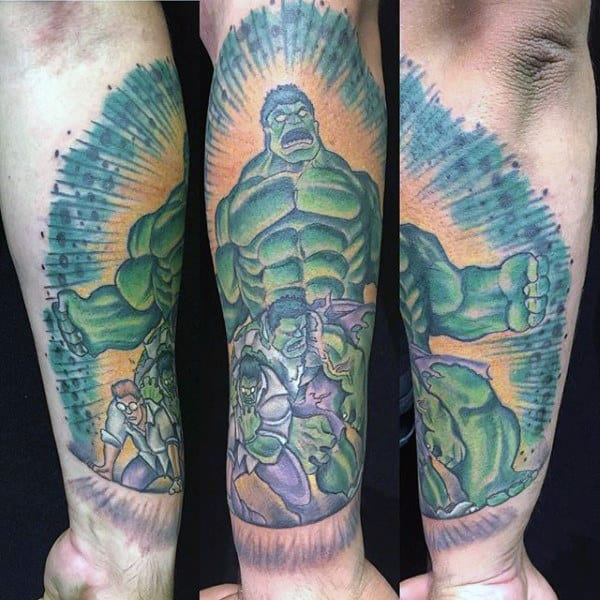 Strong Hulk Tattoo Male Forearms