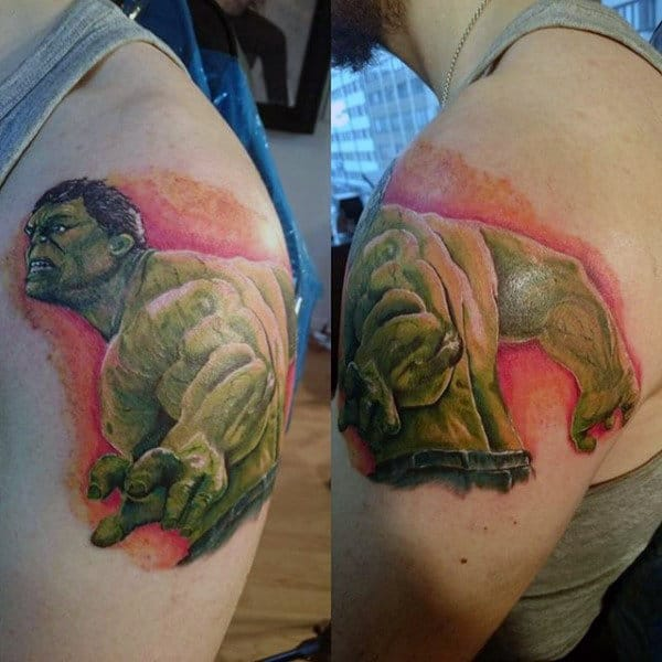 Strong Hulk Tattoo Male Shoulders