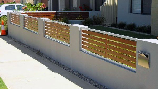 Stucco And Wood Exterior Ideas For Modern Fence