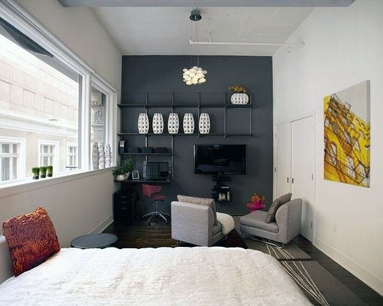 Studio Apartment Designs With Grey Painted Accent Wall