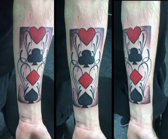 Stuning Playing Card Suit Symbols Tattoo Mens Forearms