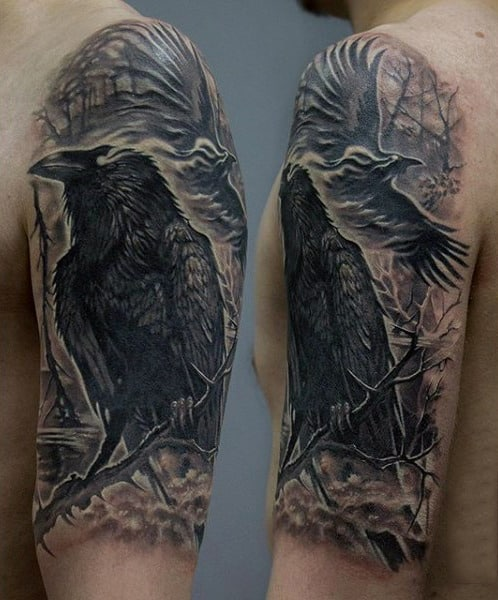 Stunning Back Raven On Twig Tattoo Guys Upper Arms