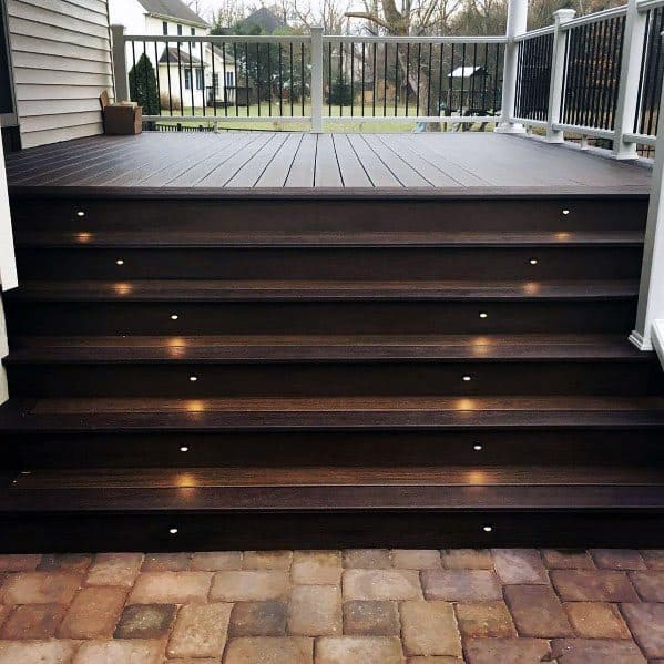 Stunning Backyard Dark Brown Composite Deck Steps Designs