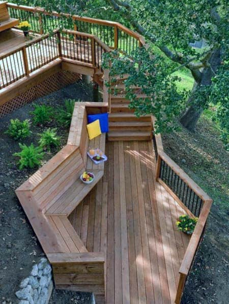 Stunning Backyard Deck Bench Designs