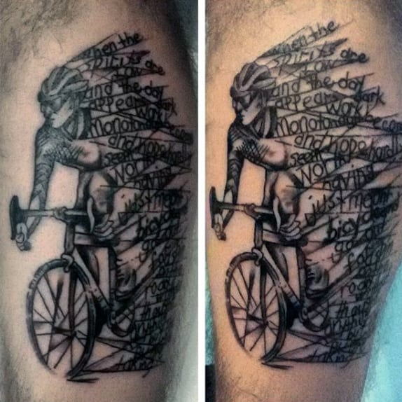Stunning Black Bicycle Rider With Lettering Tattoo Arms Male