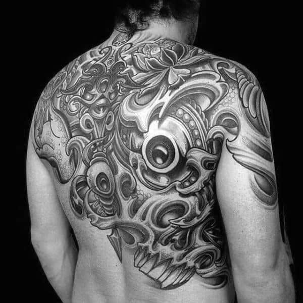 Stunning Black Eye With Details Pattern Tattoo Mens Back