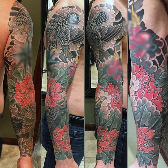 Stunning Color Hawks In Flower Tattoo Full Sleeve For Men