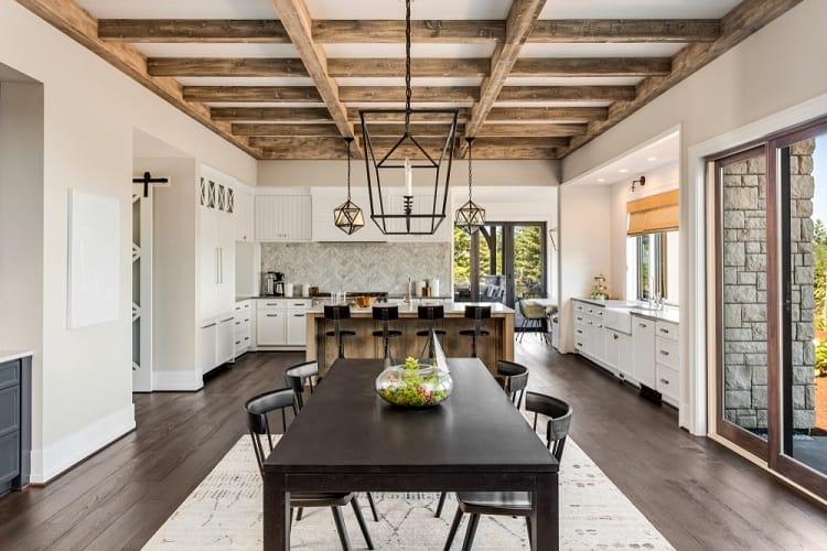 Stunning Dining Room Beam Ceiling