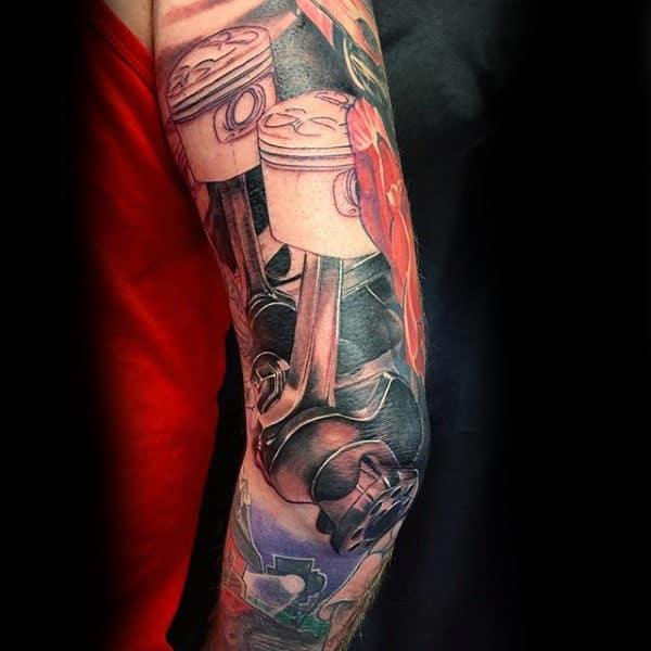 Stunning Engine Tattoo Mens Sleeves