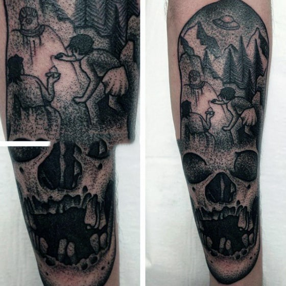 Stunning Grey Dotted Work Tattoo Of Ufo Skull Tattoo Guys Sleeves