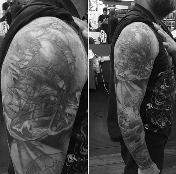 Stunning Grey Ship Under Water Life And Jellyfish Tattoo Mens Full Sleeve