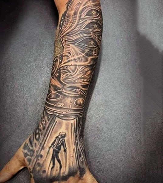 Stunning Grey Tattoo Design Of Ufo Abducting A Man On Mens Forearms