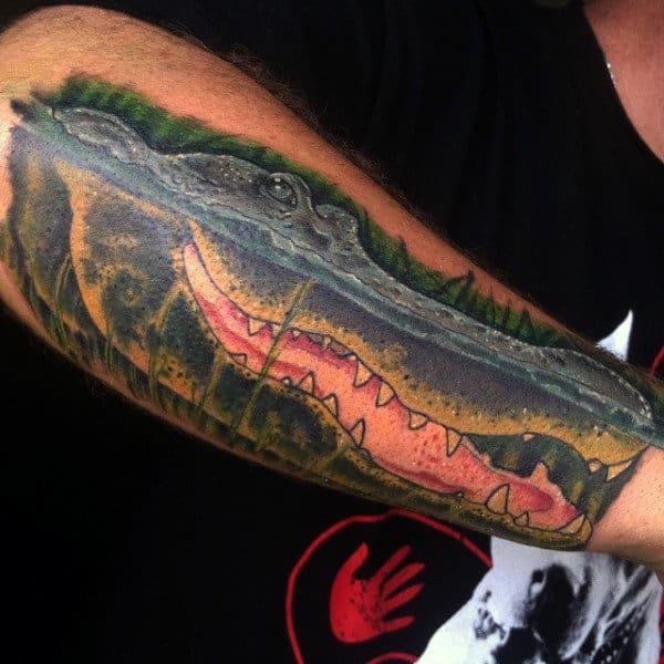 Stunning Guys Alligator Tattoo Arms
