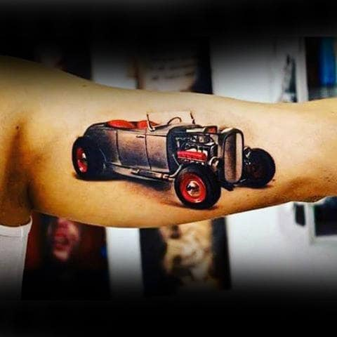 Stunning Hot Rod Tattoo For Guys On Bicep