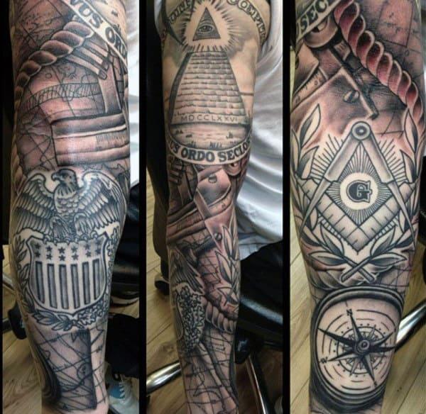 Stunning Illuminati Tattoo Male Full Sleeves