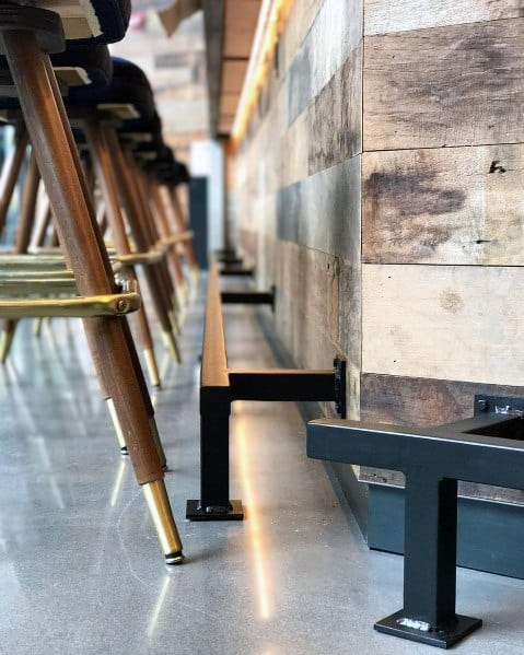 Stunning Interior Bar Foot Rail Square Tube Designs