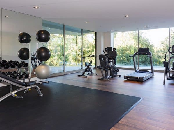 Stunning Interior Home Gym Hardwood And Rubber Flooring Designs