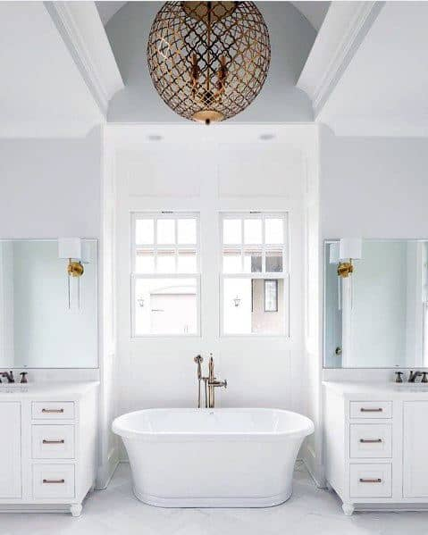 Stunning Interior Master Bathroom Chandelier Above Tub Lighting Designs