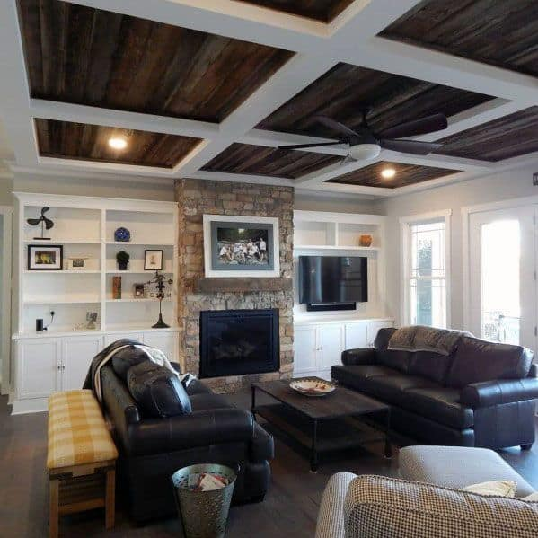 Stunning Interior Rustic Coffered Wood Ceiling Designs