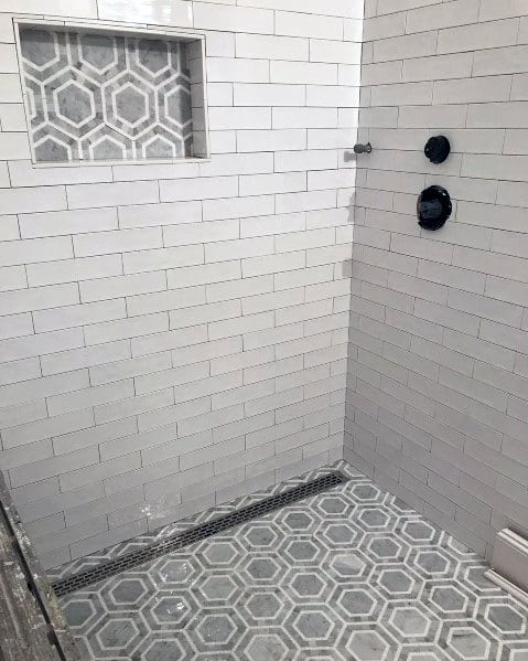 Stunning Interior Shower White And Grey Hexagon Niche Designs