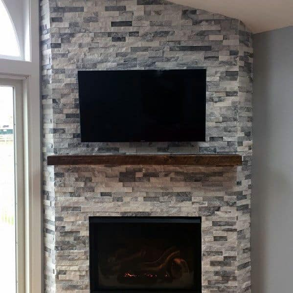 Stunning Interior Stacked Stone Fireplace Designs