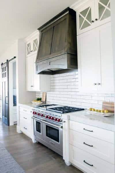 Stunning Interior Stained Wood Dark Brown Kitchen Hood Designs