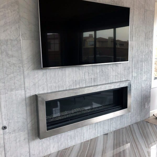 Stunning Interior Tv Wall Designs Above Fireplace With Textured Tile