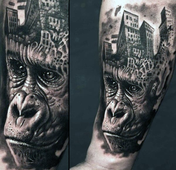 Stunning Mens Gorilla With City Head Tattoo Design