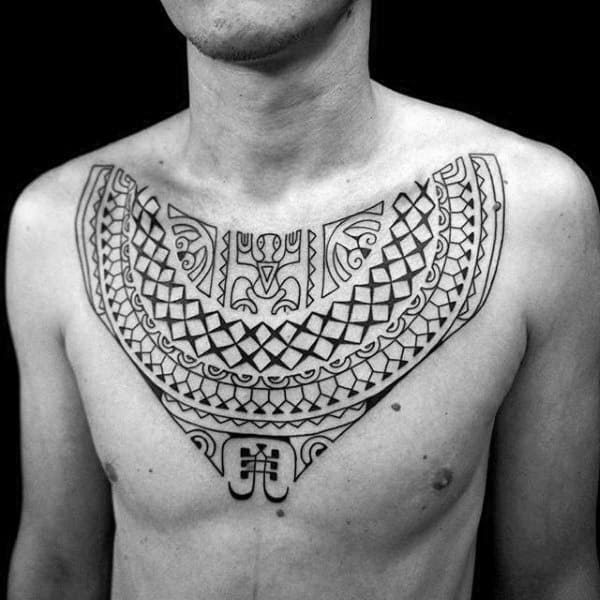 Stunning Mens Polynesian Tattoo On Chest With Cool Tribal Design