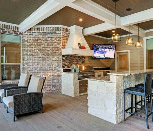 Stunning Outdoor Patio Coffered Ceiling Designs With White Painted Beams