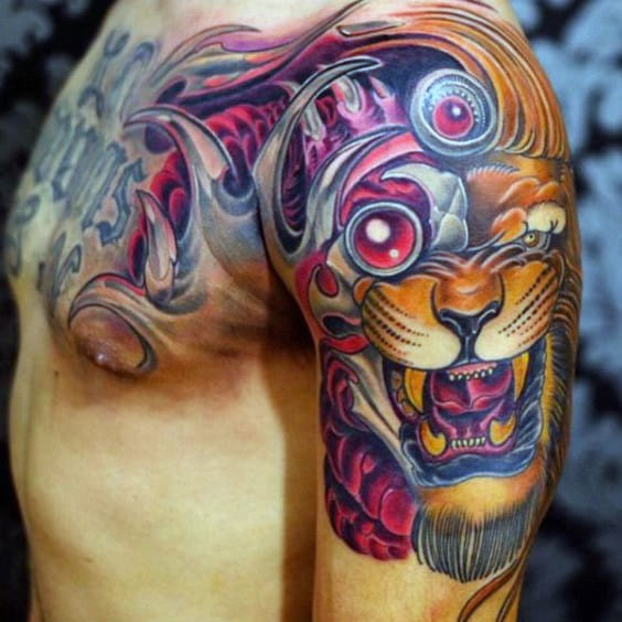 Stunning Purple Shaded Manly Tattoo Guys Shoulders