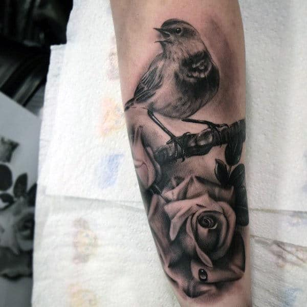 Stunning Sparrow On Realistic Rose Tattoo Mens Forearms