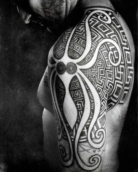 Stunning Tribal Negative Space Guys Tattoo Designs