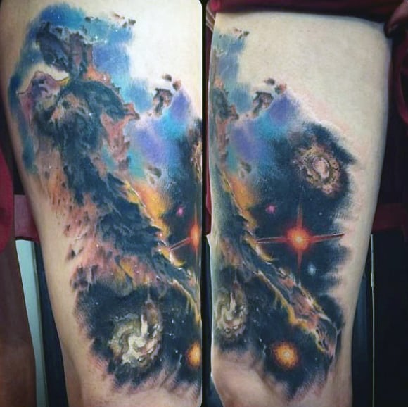 Stunning Universe Tattoo On Upperarms For Men