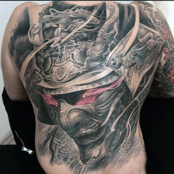Stupendous Grey Helmeted Warrior Tattoo With Blazing Eyes Mens Full Back