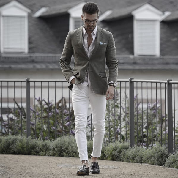 Style Business Casual Outfits Olive Green Blazer With White Pants Looks Men