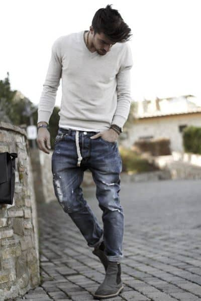 Style Casual Wear Looks Guys Worn Jeans With Cream Long Sleeve Shirt