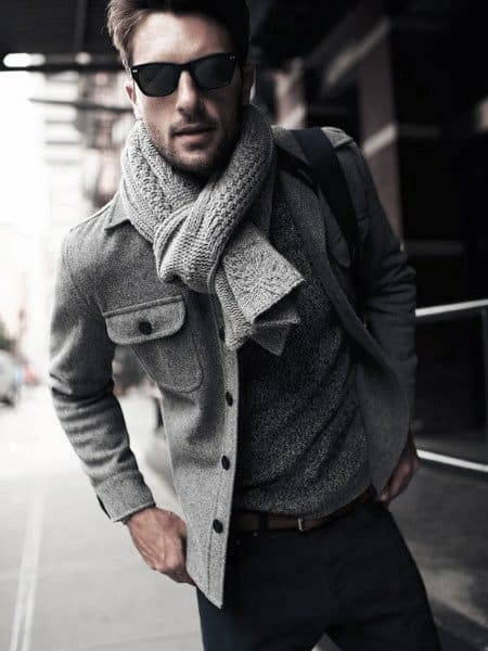 Style Casual Wear Looks Males Grey Color Jacket And Scarf
