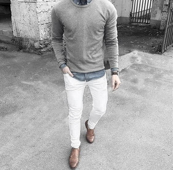 Styles What To Wear With Mens White Jeans Outfits Styles Grey Sweater Blue Dress Shirt